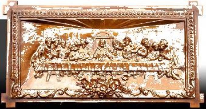 Tablou Cina cea de taina, sculptata in lemn de tei de la Arhaicart