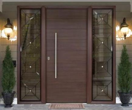 Usi Exterioare Cu Panou Decorativ Din Lemn Corian Geam Bucuresti Land Doors Design Srl Id