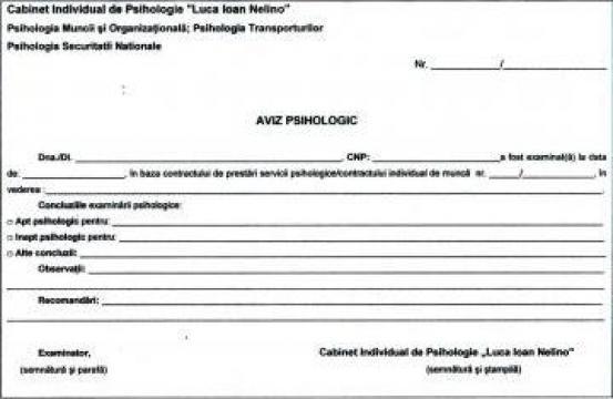 Aviz psihologic port-arma de la Cabinet Individual De Psihologie