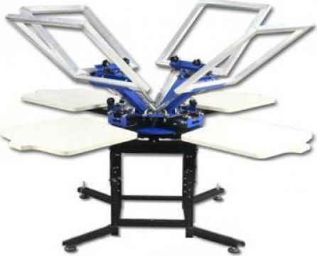 Masina serigrafie 4 Color Manual Rotary Screen Printer de la Hengcai Printing Machine Factory Limited