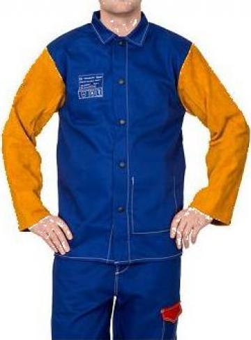 Jacheta sudor din bumbac ignifug cu maneci piele 33-3060