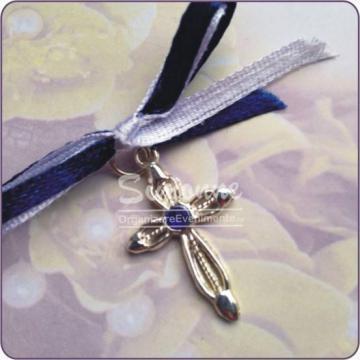 Marturie Cruciulita metal cu piatra albastra de la Simonne