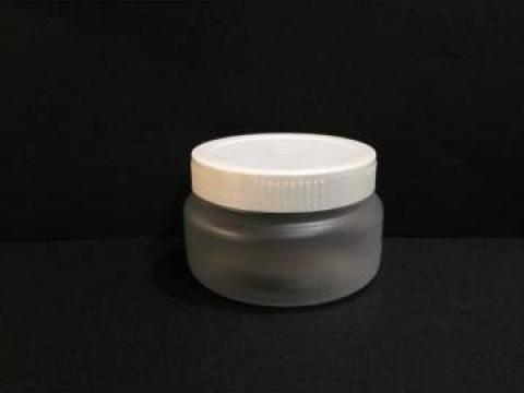 Borcan transparent/alb 100ml cu capac fi 66 alb/galben de la Vanmar Impex Srl