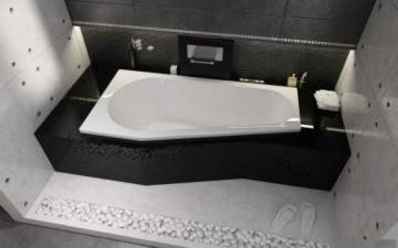Cada baie colt asimetrica 150x80 cm, 160x80 cm