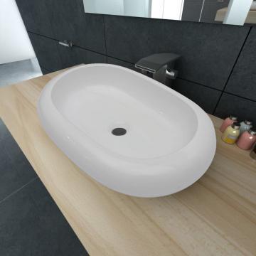 Chiuveta ovala pentru baie din ceramica, alb
