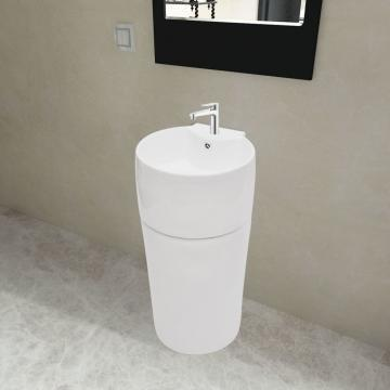 Chiuveta rotunda din ceramica cu stativ si preaplin, alb de la Vidaxl