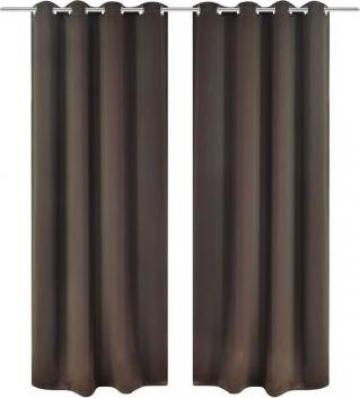 Draperii opace cu inele metalice, 2 buc, 135 x 245 cm, maro