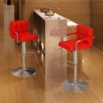 Set 2 scaune bar cu spatar rosu de la Vidaxl