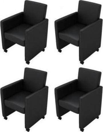 Set 4 scaune birou din piele artificiala negru de la Vidaxl