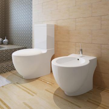 Set vas de toaleta si bideu din ceramica, alb