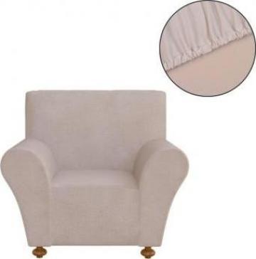 Husa elastica pentru canapea, poliester jersey, bej
