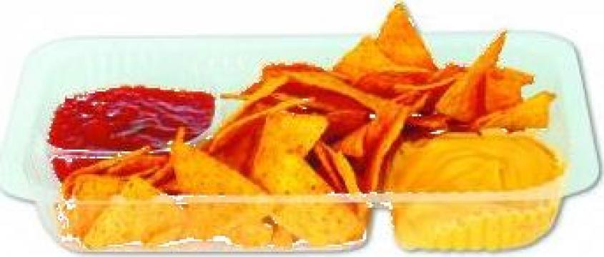 Tavite nachos transparente mari 3 compartimente 500 buc/bax de la Cristian Food Industry Srl.