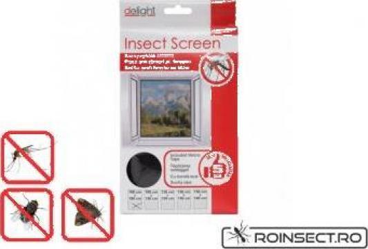 Plasa anti insecte pentru ferestre 100x130 cm - alba/neagra de la Agan Trust Srl