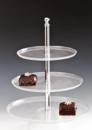 Stand rotund policarbonat de prezentare pe 3 niveluri