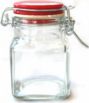 Borcan patrat sticla 120ml inchidere ermetica de la Basarom Com
