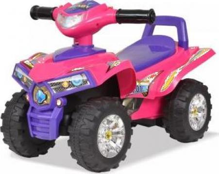 Jucarie ATV de plimbare pentru copii cu sunet si lumina roz