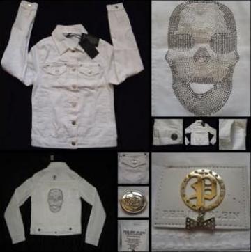 Geaca blugi alba dama craniu cristale Philipp Plein