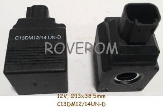 Bobina 12V, d13x38.5mm, JCB 8025ZTS, 8035ZTS, 8040ZTS, 8045Z de la Roverom Srl