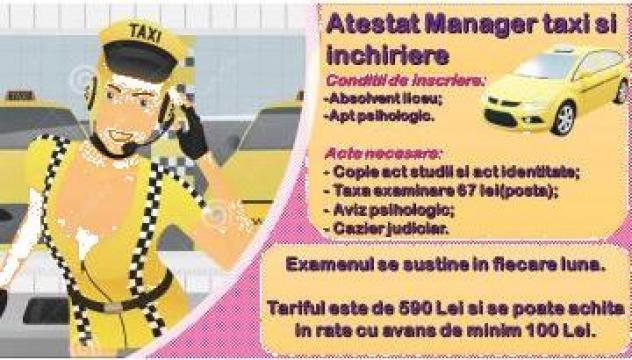 Atestat manager taxi de la Scoala De Soferi Aviatia