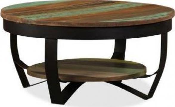 Masuta de cafea, lemn masiv reciclat, 65 x 32 cm