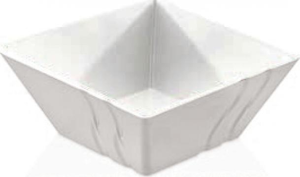Bol patrat Raki Luxor White melamina 13,8x13,8x5,8cm de la Basarom Com