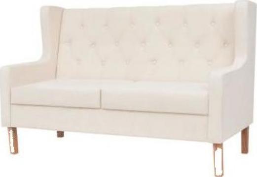 Canapea cu 2 locuri, material textil, alb crem de la Vidaxl