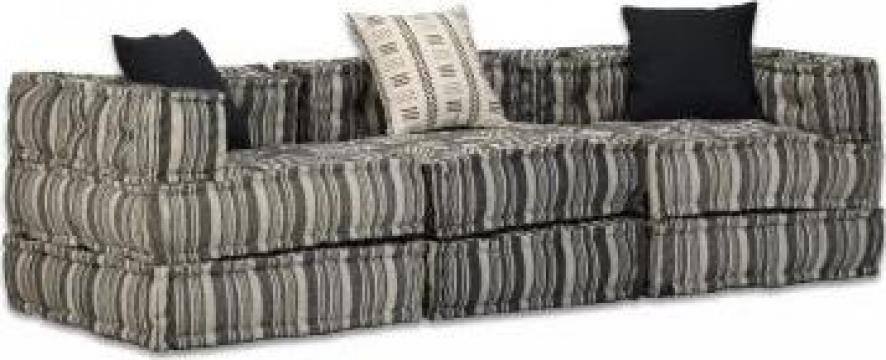Canapea modulara cu 3 locuri, textil cu dungi de la Vidaxl