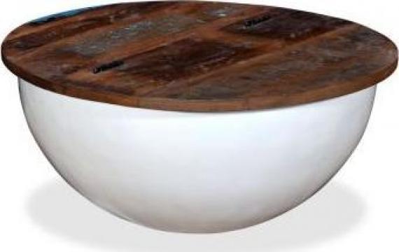 Masuta de cafea, lemn masiv reciclat, alb, forma bol de la Vidaxl