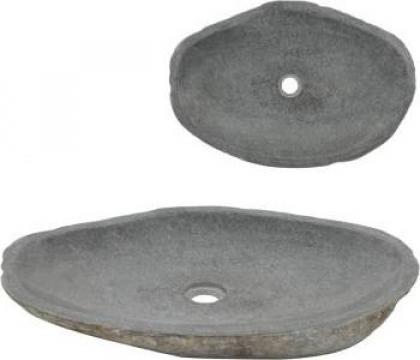 Chiuveta ovala din piatra de rau, 60-70 cm