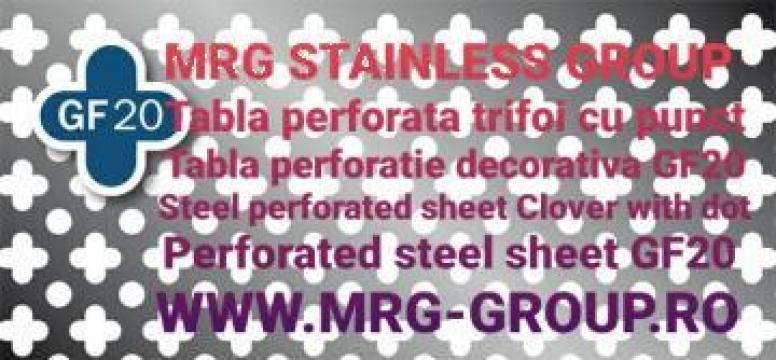 Tabla perforata otel gauri Trifoi - punct 1x1000x2000mm de la MRG Stainless Group Srl
