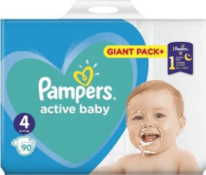 Scutece pampers Active Baby marimea 4, 9-14 kg, 76 bucati de la Ivenik Concept Srl
