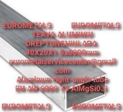 Teava aluminiu dreptunghiulara 40x20x1.5mm