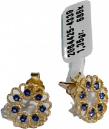 Cercei din aur Inimioare Albastre de la Dixi Bijou Srl