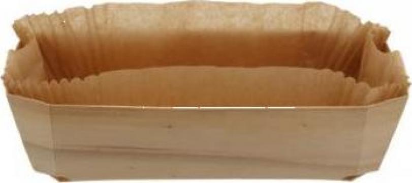 Forma din lemn pentru copt cozonac 250x115x75mm 100 buc/bax de la Cristian Food Industry Srl.