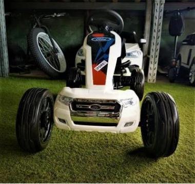 Kart Ford cu pedale pentru copii, alb