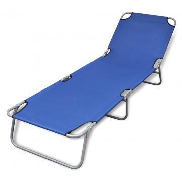 Sezlong pliabil cu perna si spatar reglabil albastru de la Comfy Store