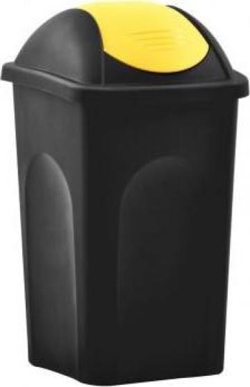 Cos de gunoi cu capac oscilant, negru si galben, 60litri de la Vidaxl