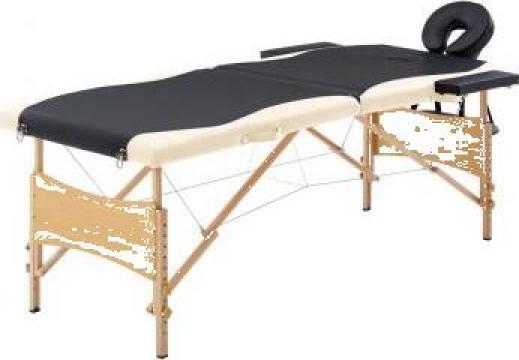 Masa de masaj pliabila, 2 zone, negru si bej, lemn de la Vidaxl