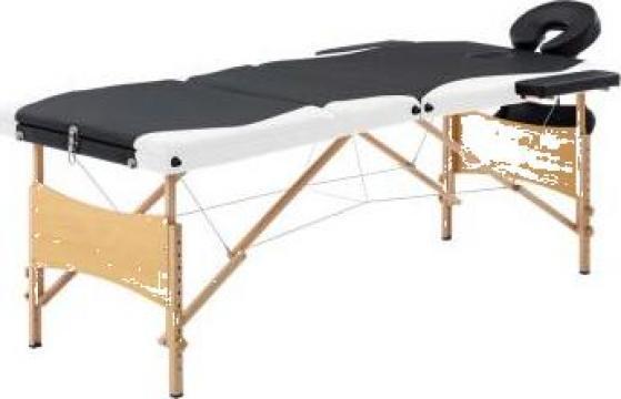 Masa de masaj pliabila, 3 zone, negru si alb, lemn de la Vidaxl