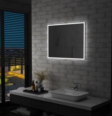 Oglinda cu LED de perete pentru baie, 80 x 60 cm