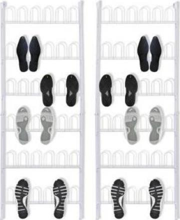 Pantofar 18 perechi pantofi, din otel, alb, 2 buc