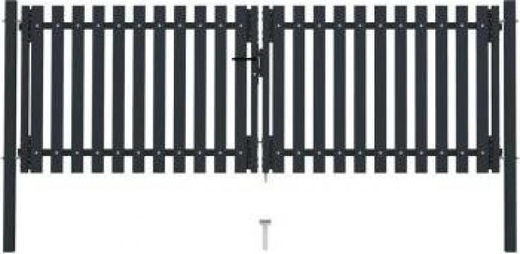 Poarta de gard dubla, antracit, 306 x 125 cm, otel