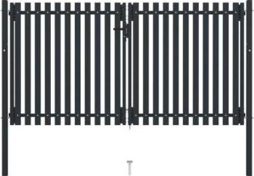 Poarta de gard dubla, antracit, 306 x 220 cm, otel