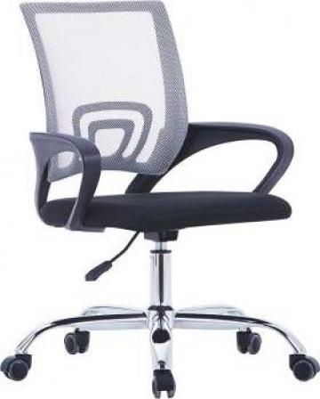 Scaun birou cu spatar din plasa, gri, material textil