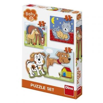 Joc Baby puzzle - Animalute jucause (3-5 piese)