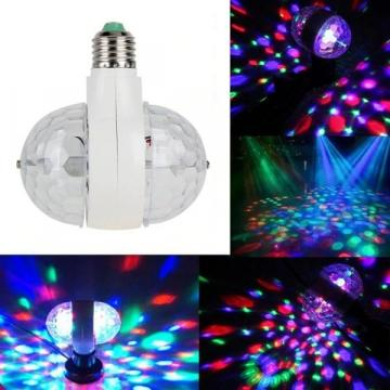 Bec rotativ dublu multicolor cu proiectie lumini disco
