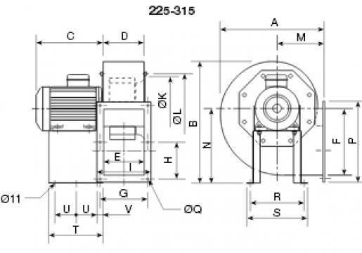 Ventilator centrifugal 400 grd CHMT/4- 315/130-2,2 de la Ventdepot Srl