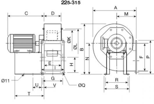 Ventilator centrifugal 400grd CRMT/4- 280/115 2.2kW de la Ventdepot Srl