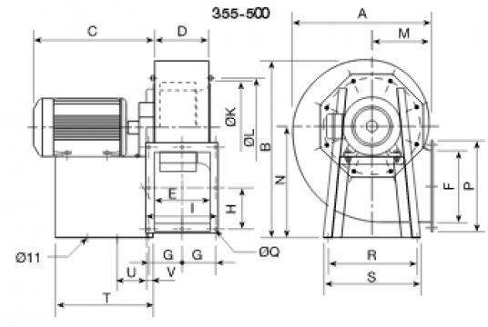 Ventilator centrifugal 400grd CRMT/6- 450/185 2.2Kw de la Ventdepot Srl