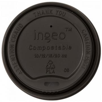 Capac bio, negru, bauturi calde, CPLA, 80 mm (50 buc/pac)